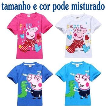 Retail 2014 summer kids clothing vestido infantil peppa pig clothing children t shirts Garfield/car Free shipping
