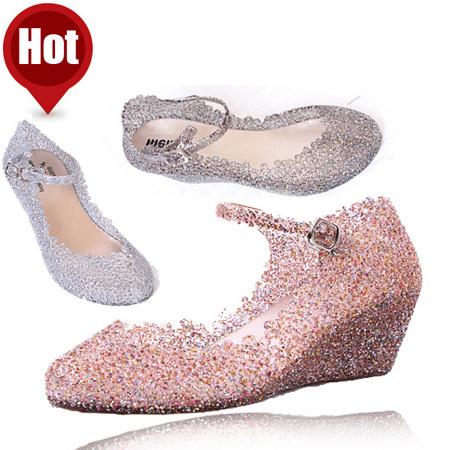 2014 Women Spring autumn Fashion Sandals Shoes Leisure High-heeled Crystal Jelly Sandal Design For Women Girls Hot Sale(China (Mainland))