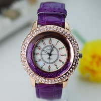 Free Shipping New 2013 Korea Fashion Women Casual Dress Watches With Big Round Dial Inlaid Rhinestones Ball 5 Colors Items