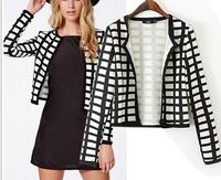 New Fashion Ladies' Vintage Plaid Print Short Jacket Coat Long Sleeve Women Outwear Non-button Casual Slim Brand Designer Tops