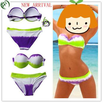 2014 HOT SALE LOW PRICE LADY/WOMEN METAL PENDANTS Swimsuit Swimwear Strapless Padded Bikini SML