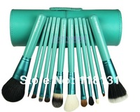 Zoreya 12pieces/kits professional makeup brushes set cylinder loose powder cosmetic pink ,black green,purple.brush high quality