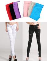 Hot Fashion Cotton Denim Ripped Punk Cut-out Women Skinny pants Jeans Jeggings Trousers 5 Color