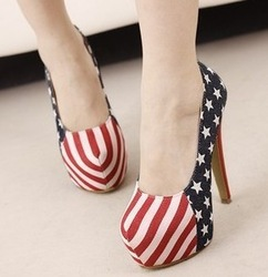free shipping Female shoes american flag ultra high heels single low color block decoration plus size autumn shoes(meidan)(China (Mainland))