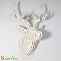 christmas decorations,Deer Head of DIY wooden crafts for home decoration,wall decor living room,novelty item,wood carving,animal