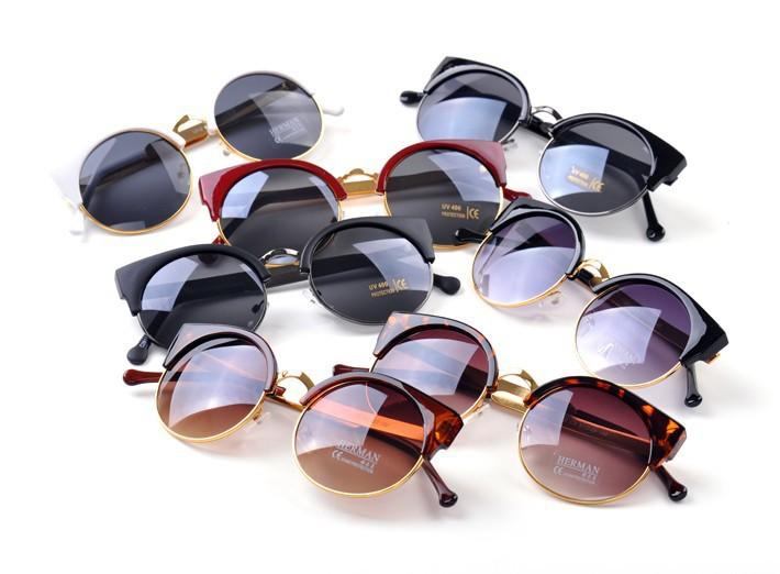 New 2014 Cat Eye Vintage Sunglasses Women Top Fashion Girls Summer Retro Round Sun Glasses Cat Eye Gafas Oculos Casual Shades(China (Mainland))
