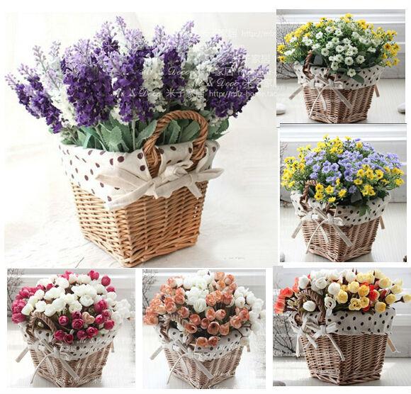 hot vendre 2014 panier de rangement en rotin carrés vase avec de la lavande rose fleur artificielle maisondécor mariage décoration fleurs