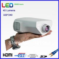 Manufaturers 40 Lumens LED Mini Projector With HDMI  USB VGA AV-in SD
