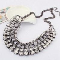 Luxury Crystal Gem Wedding Black Plated Collar Choker Chain Statement Necklaces & Pendants 2014 New Fashion Jewelry Women N10