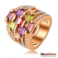Weekend deal Real 18K Rose Gold Plate Gorgeous Multi-layer Engagement Rings Pave Austrian Crystals Charm Jewelry Ri-HQ0215