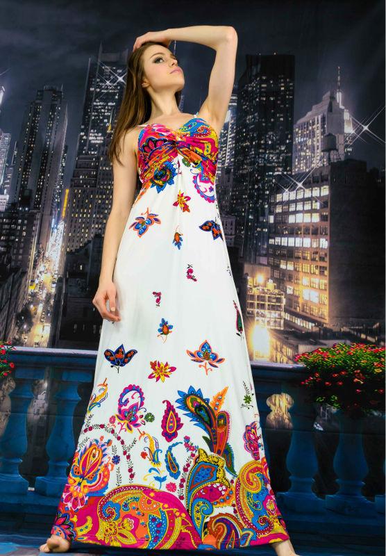 2014 Summer Beach Sun Dress Women New Sexy Long Maxi Dress Lady Fashion Tops Bohemian size M/L/XL/XXL/XXXL Free shipping 7139(China (Mainland))