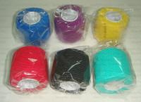 5cm x 4.5m Free shipping  5rolls/lot Coban latex free nonwoven Elastic Self Adhesive adherent Wrap Bandage tender coflex tape