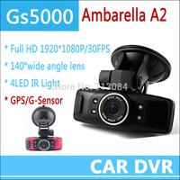 Ambarella Car DVRs GS5000 Full HD 1080P Recorder Camcorder Vehicle Camera with GPS/G-Sensor+1.5inch+H.264 Video Recorder Russian