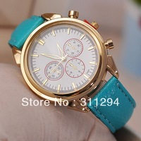 JW130 Big Golden Face Women's Dress Watches PU leather Strap wristwatches Fashion&Casual Watches 6 Colors