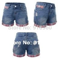 New big Size Denim Short jeans Women's shorts/Fashion Sexy Ladies' XS~4XL plaid Cuffs good quality Short pants/Wtl
