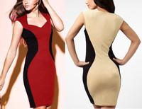 Free shipping,2013 New Women Bodycon Sleevelss Mini Patchwork Tunic Cocktail Clubwear Slip Sheath Shift Pencil Dresses