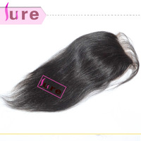 Brazilian hair with closure, Straight lace closure belached knots free part 4*4