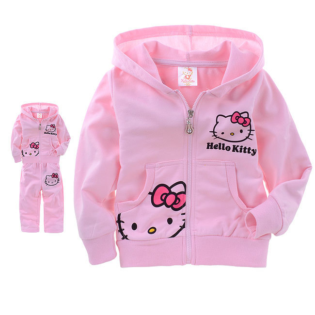 Retail Hello kitty set for girls children hoodies Pink baby girl set products carton suit hallo kitty spring autumn New 2014(China (Mainland))