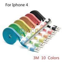 Hot selling 3M 10 colors flat noodles usb charger cable for iphone 4 4g 4s 3G for new ipad for ipod good quality Free shipping