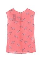 2013 New Summer Zebra Printed O-Neck Sleeveless Chiffon Shirt  Fashionable Blouse    K43