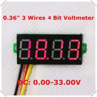 "mini 4 bit 0.36"" Digital Voltmeter 0-33V Three wires Voltage Panel Meter Display LED Color: Red  [ 10 pieces / lot]"