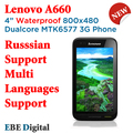 Free Shipping SG Post Original Lenovo A660 Waterproof Russian Support Mtk6577 Dualcore Cell Phone  512mb 4GB  Multi Language