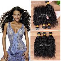 "Brazilian curly virgin hair 3pcs lot 8""-30"" kinky curly virgin hair brazilian virgin hair extension ,unprocessed 6A human hair"