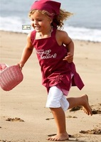 1 pcs/lot Fashion Kids beach clothes sets 3 pcs a set hat, top and pants 2 color baby suits free shippng