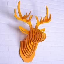 Projeto esculpida boa madeira deer head pendurado decoração da parede montagem DIY 3D artesanato em madeira animal cabeça decoração da estilo europa(China (Mainland))