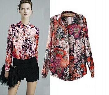 new women fashion blouse Retro printed chiffon long-sleeved shirt European and American style hot selling free shipping