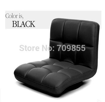 Living room seating furniture Meditation Black leather chair 360 degree swivel  floor leather zaisu chair