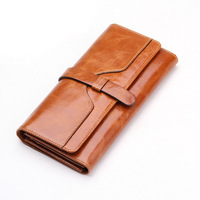 100% oil waxing cowhide wallet for women Long designer drew-string wallet holder women leather genuine purse free shipping