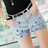 New Fashion Women's The Cross Pattern Jeans Shorts Denim Cut Off Hot Pants Casual 14515