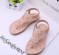 brand sandals for women 2014 new arrival women pink flowers bohemian flats summer ladies' flat sandals Roman shoes US4.5 / 8