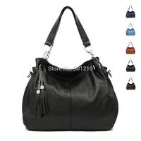 Free shipping, 100% Genuine leather, Cow Leather OL Women's Handbag Shoulder+tote+Messenger bag, Long shoulder strap