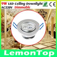 9W 220V LED Celing Lamp Down Light Dimmable Cool White Warm White LED Ceiling Downlight For Home Living Bed Room illumination