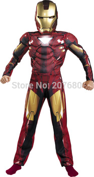 Kids The avengers Iron Man costumes with muscle for child Fancy dress clothing for kid 4 styles 4-12 ages