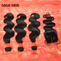 5A Malaysian Virgin Hair 4pcs lot body wave middle part Lace closure with 3pcs bundle Unprocessed Hair Extention body wave