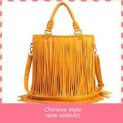 2013 Women's fashion Punk Fringe bag tassel bag vintage rivet bag female bags big bags handbag black