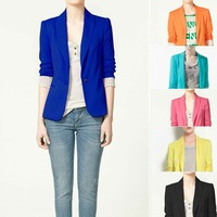 Free Shipping Spring 2014 New Clothing Womens Cotton Blend Blazers Long Sleeve Candy Color Coats And Jackets Wholesale