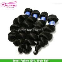 "Indian virgin hair loose body wave hair 4pcs/lot human hair (14""-28"") natural color 1b,hair weaves Berrys Fashion Hair Products"