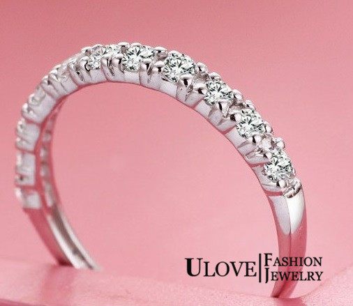 New 2014 Promotion Wholesale Silver 925 Rings for Women Cubic Zirconia Simulated Diamonds Wedding Ring Acessories ULOVE J029(China (Mainland))