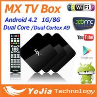 1pc Original MX TV Box Android 4.2.2 Dual Core XBMC Midnight GBOX 1G RAM 8G ROM Dual ARM Cortex A9 WiFi Build In Mini PC MX BOX