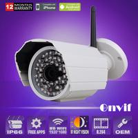 Mini white waterproof 1080P 2.0 Megapixel HD SONY Sensor Wireless WIFI Network CCTV Camera Outdoor Night Vision With Bracket