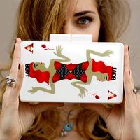 2014 Fashion Printing Poker Women Evening Clutch Bags Famous Brand Designer Gold Chain Shoulder Handbags Mini Bolsas femininas