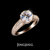 18K Rose Gold plated 2ct Round Cut Cubic Zirconia with micro CZ Setting Wedding Rings  (Jingjing JR002A)