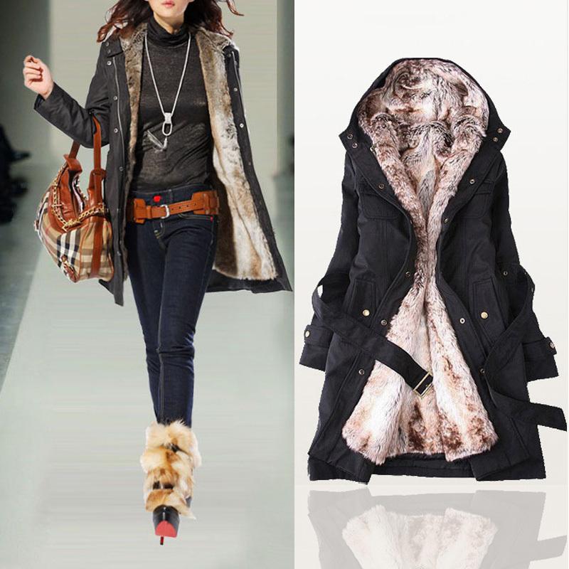 Free Shipping 2013 Women Autumn Winter Fashion Faux Fur Lining Hoody Coat , Women's Goose Down Parka Jacket 8687(China (Mainland))