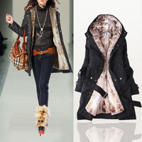 Free Shipping 2013 Women Autumn Winter Fashion Faux Fur Lining Hoody Coat , Women's Goose Down Parka Jacket 8687