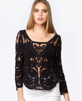 Hot Dress Sweet Semi Sexy Sheer Long Sleeve Embroidery Floral Lace Crochet Tee Top T shirt Vintage