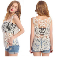 Hot Candy Color Size Free Retro Lace Floral Sleeveless Crochet Knit Vintage Women Vest Tank Tops Tees Shirt Blouse